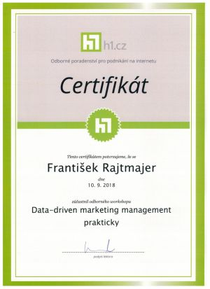 Certifikát ze Data Driven marketing Management